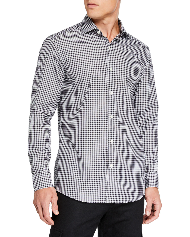 Ermenegildo Zegna T-shirts MEN'S GINGHAM TRAVELER SPORT SHIRT