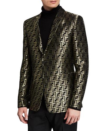 Men's Metallic FF Two-Button Jacket
