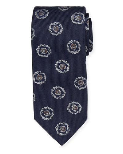 Large Medallion Silk Tie