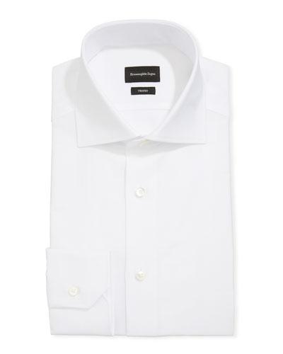 Men's Trofeo Herringbone Cotton Dress Shirt, White