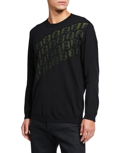 Men's Punched FF Logo Wool Knit Sweater