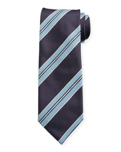 Men's Silk Double-Framed Stripe Tie