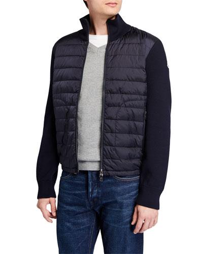 Men's Puffer Zip-Front Sweater