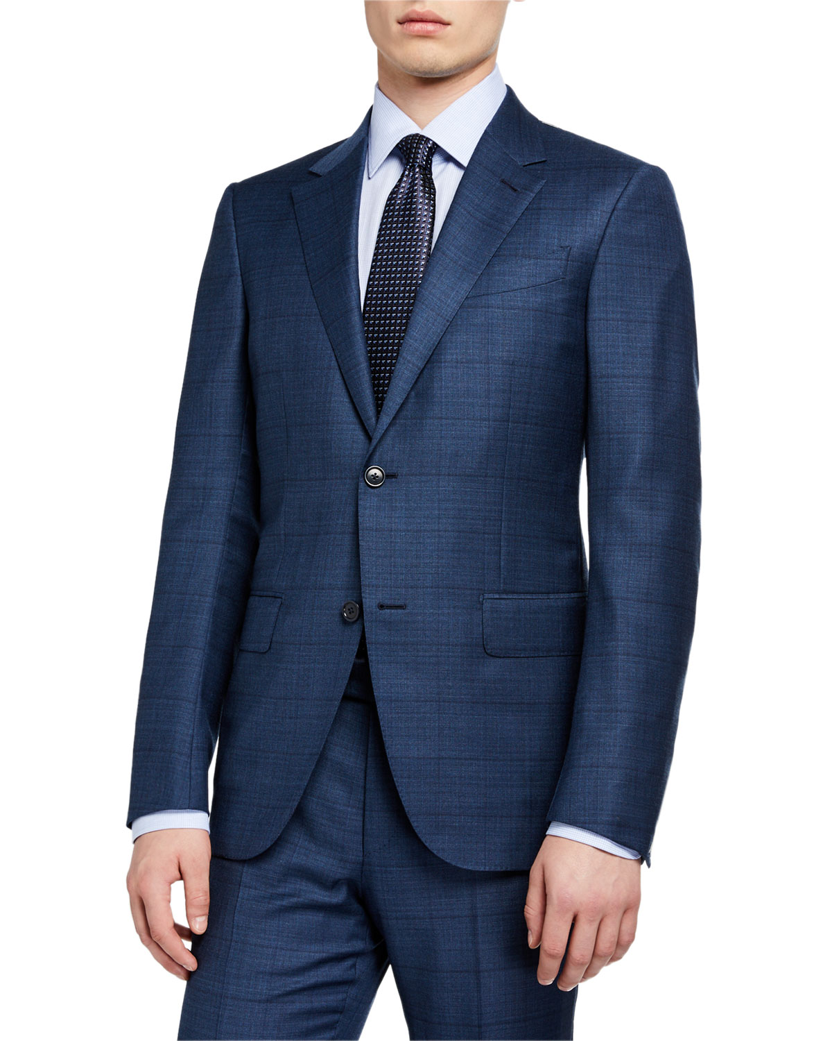 Ermenegildo Zegna Suits MEN'S WINDOWPANE WOOL/SILK TWO-PIECE SUIT, BLUE