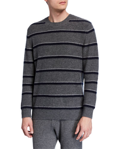 Men's Striped Cashmere Crewneck Sweater