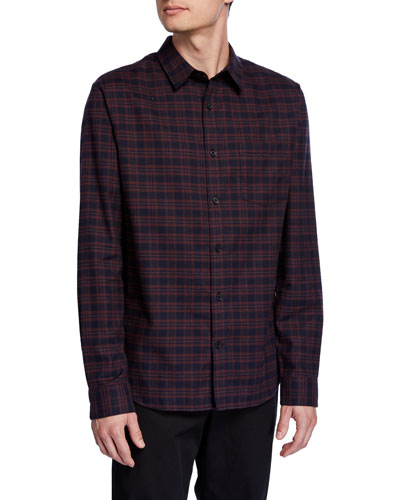 Men's Brushed Shadow Plaid Sport Shirt