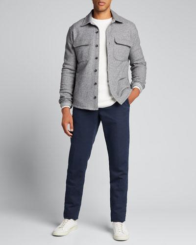 Men's Fleece Twill Shirt Jacket