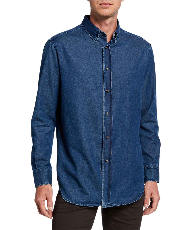 Brioni T-shirts MEN'S DARK DENIM SPORT SHIRT