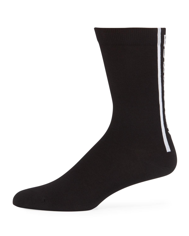 Burberry Men's Branded Cotton Sport Socks In Black