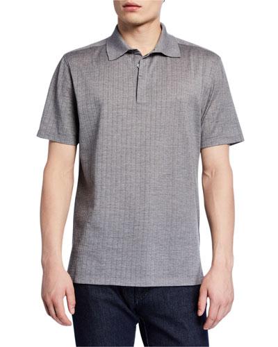 Men's Textured Wool-Silk Polo Shirt, Gray