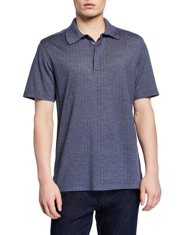 Ermenegildo Zegna T-shirts MEN'S TEXTURED WOOL-SILK POLO SHIRT, BLUE