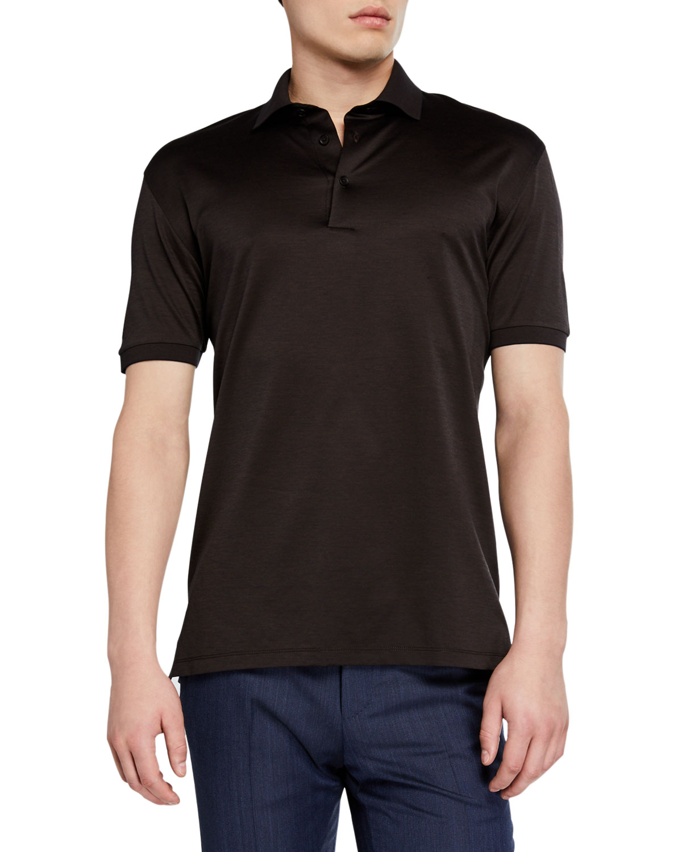 Ermenegildo Zegna T-shirts MEN'S PIQUE POLO SHIRT, DARK BROWN