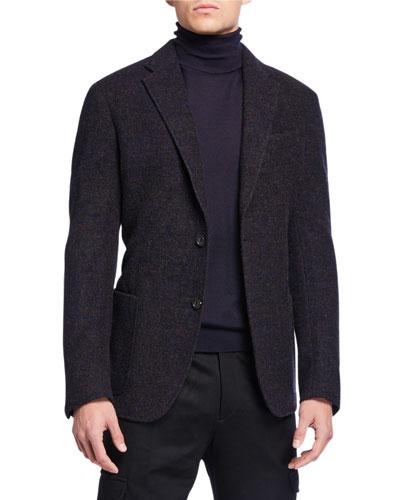 Men's Melange Alpaca Two-Button Jacket