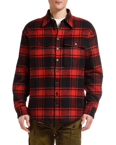 Men's Wool Plaid Shirt Jacket