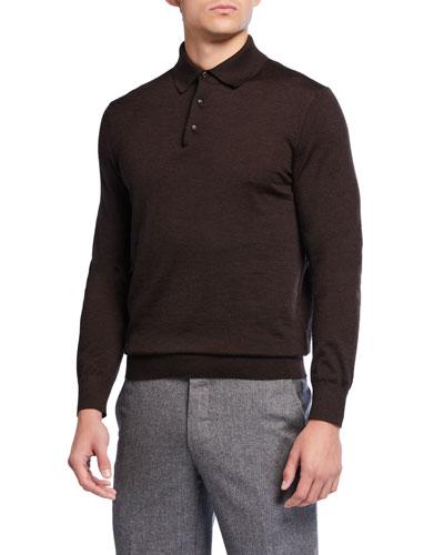 Men's Long-Sleeve Cashmere-Silk Polo Shirt, Brown