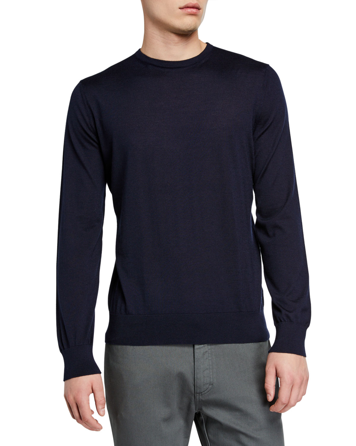 Ermenegildo Zegna Sweaters MEN'S LIGHTWEIGHT CASHMERE/SILK SWEATER, NAVY