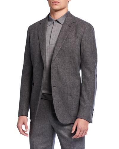 Men's Regular-Fit Herringbone Two-Button Jacket