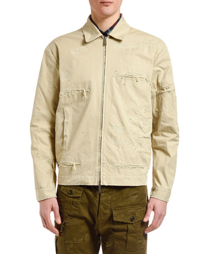 Men's Distressed Chino Bomber Jacket