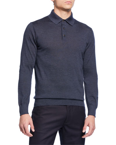Men's Long-Sleeve Cashmere-Silk Polo Shirt, Teal