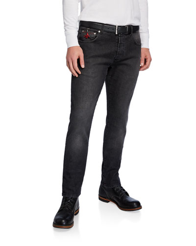 Men's Black-Wash Tapered Jeans