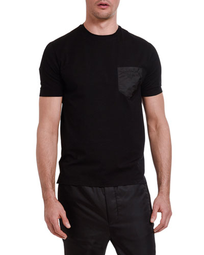 Men's Crewneck Nylon-Pocket T-Shirt