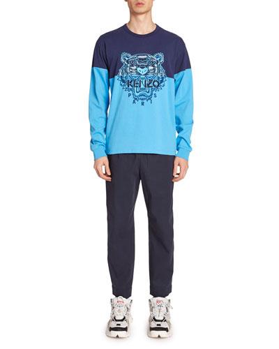 Men's Colorblock Tiger Long-Sleeve T-Shirt