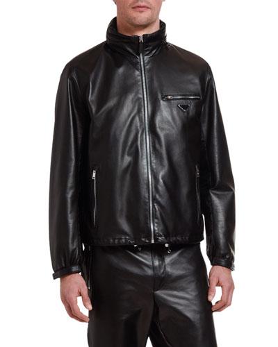 Men's Leather Zip-Front Jacket with Nylon Trim