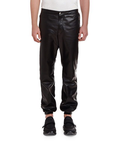 Men's Leather Drawstring-Waist Pants