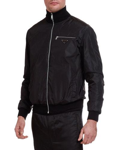Men's Nylon Wool-Trim Zip-Front Jacket
