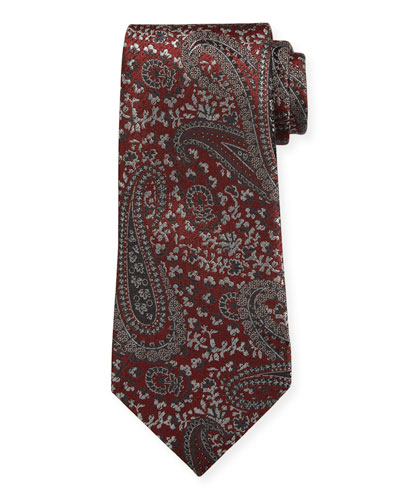 Woven Paisley Silk Tie, Red