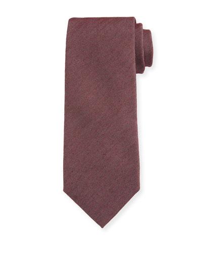 Men's Solid Herringbone Tie, Red