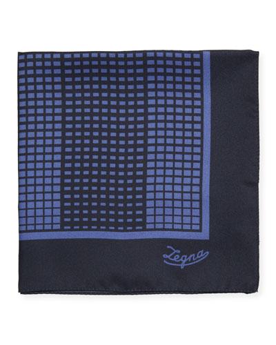 Grid Check Silk Pocket Square, Blue