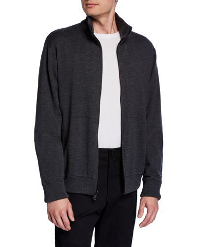 Men's Reversible Front-Zip Sweater Jacket