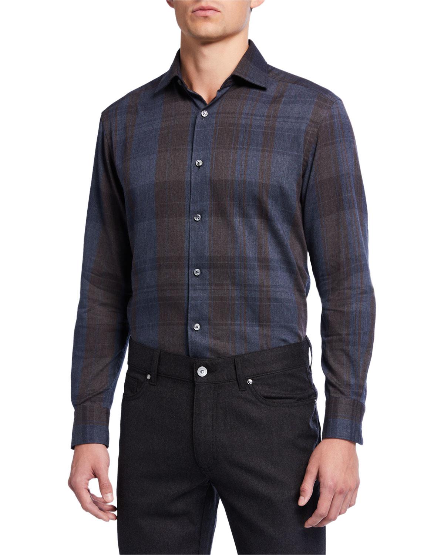 Ermenegildo Zegna T-shirts MEN'S TARTAN PLAID COTTON SPORT SHIRT