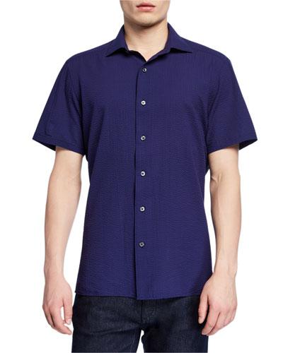 Men's Seersucker Short-Sleeve Sport Shirt, Navy