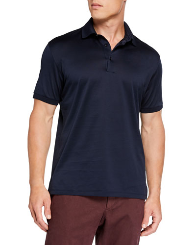 Men's Pique Polo Shirt, Navy