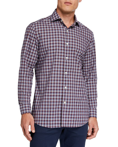 Men's Two-Tone Plaid Sport Shirt, Red/Blue