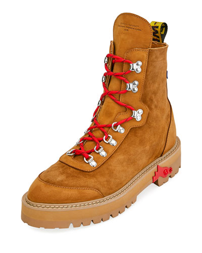 Men's Suede Logo-Web Hiking Boots
