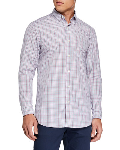Men's Cento Quaranta Plaid Sport Shirt, Pink Pattern
