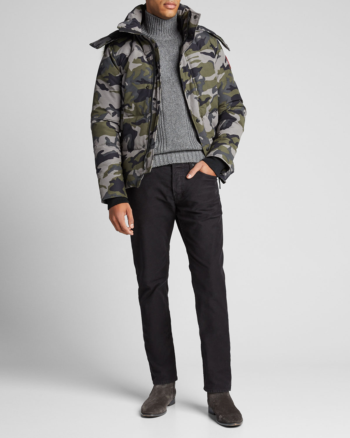 Canada Goose Tops MEN'S WYNDHAM FUSION-FIT CAMO DOWN PARKA WITH FUR-TRIM HOOD