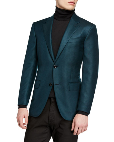 Men's Cashmere Two-Button Jacket, Green
