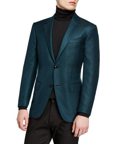 805961bf6726f7 Men's Cashmere Two-Button Jacket, Green Quick Look. Ermenegildo Zegna