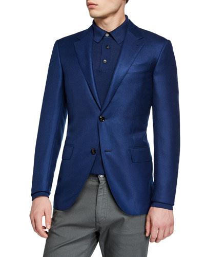 Men's Cashmere Two-Button Jacket, Blue