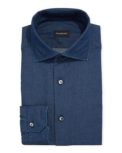 Men's Solid Chambray Trim-Fit Dress Shirt