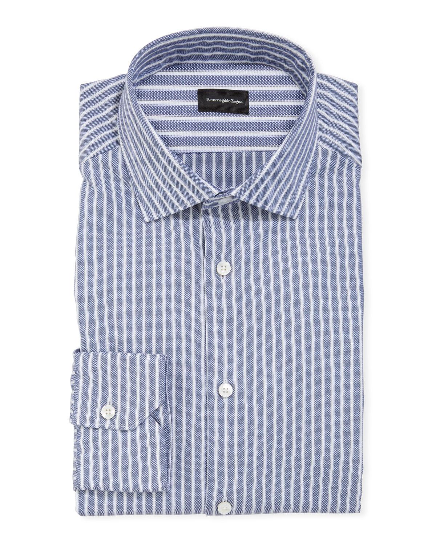 Ermenegildo Zegna Dresses MEN'S OXFORD STRIPE COTTON DRESS SHIRT