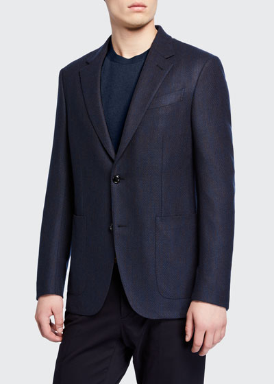 Men's Textured Regular-Fit Cashmere Patch-Pocket Two-Button Jacket