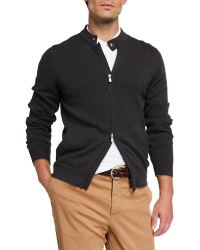 Men's Zip-Front Cotton Cardigan