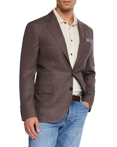 Men's Check Wool-Blend Two-Button Jacket
