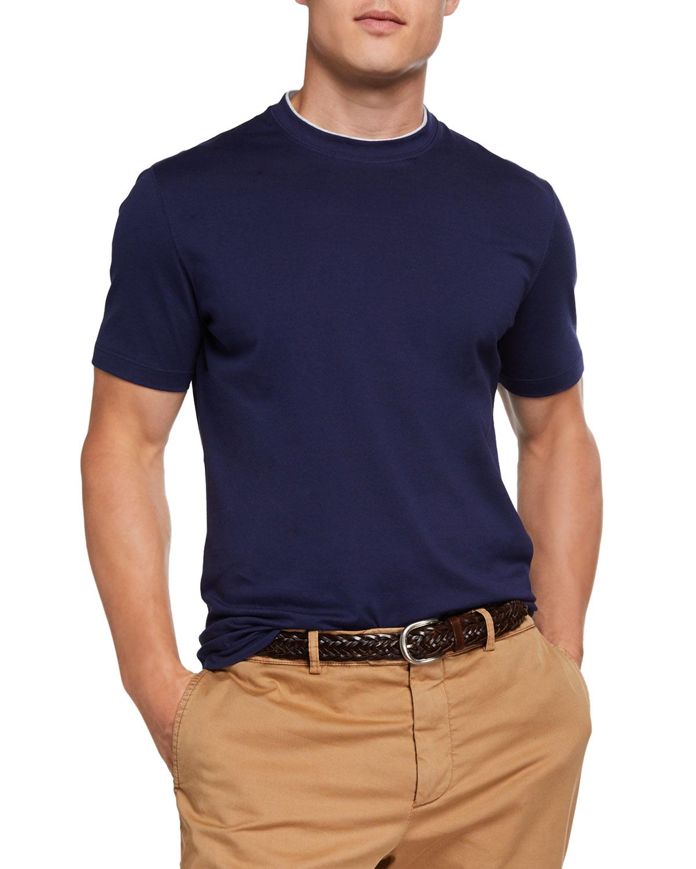 Brunello Cucinelli T-shirts MEN'S TWO-TONE TRIM CREWNECK T-SHIRT