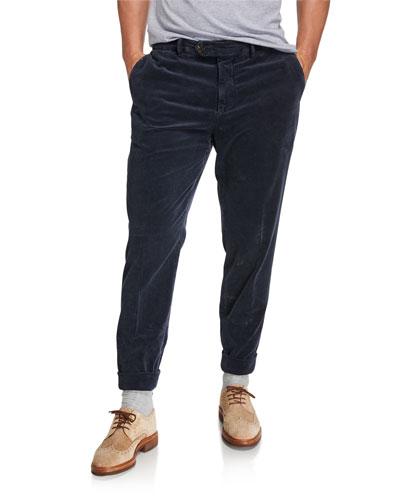 Men's Flat-Front Corduroy Trouser Pants